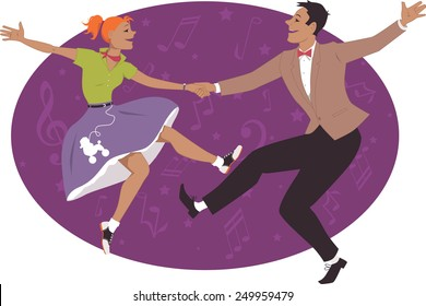 Young couple dressed in 1950s fashion dancing rock and roll or boogie, vector illustration, no transparencies, EPS 8