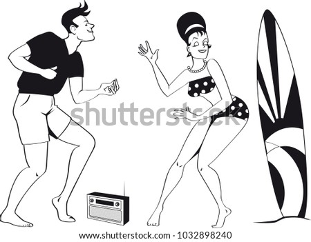 young couple dressed 1960 s beach fashion stock vector royalty free 1960s Food young couple dressed in 1960s beach fashion dancing the twist listening to a transistor radio