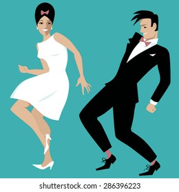 Young couple dressed in early 1960s fashion dancing rock and roll or the twist, vector illustration, no white objects, EPS 8