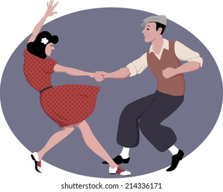 Young couple dressed in late 1940s style clothes dancing lindy hop, vector illustration