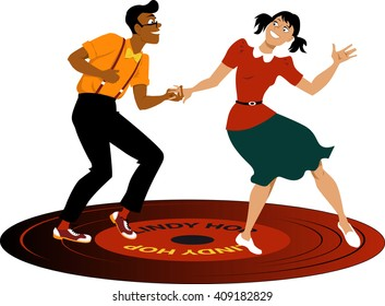 Young couple dressed in vintage attire dancing lindy hop on a vinyl record
