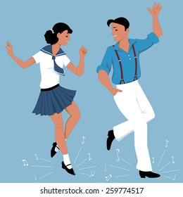 Young couple dressed in vintage fashion step-dancing, music notes flying from under their feet, vector illustration, no transparencies, EPS 8