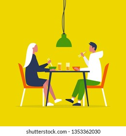 Young couple eating ramen with the chopstics. Date. Restaurant. Daily life. Flat editable vector illustration, clip art