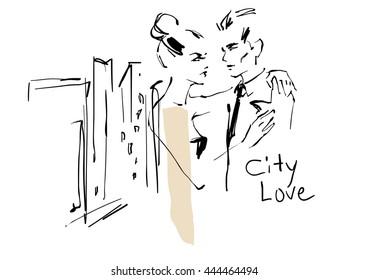 Young couple. Fashion illustration