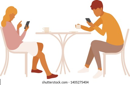 Young couple or friends distracted by their smartphones on a date. Girl and boy disconnected and paying no attention to each other. Boring date, lack of interest. Disconnection concept