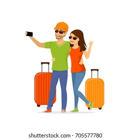 young couple going to vacations, taking selfie