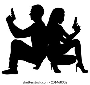 young couple with handguns, vector