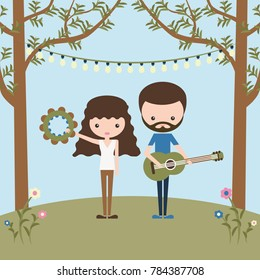 Young couple of happy musicians. Longhaired girl with tambourine and bearded boy with guitar. Festival symbol