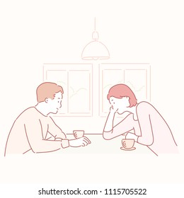 A young couple and a young couple are having a tea break, facing each other kindly. hand drawn style vector doodle design illustrations.
