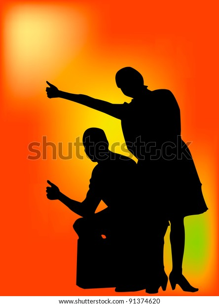 Young couple hitch hiking and sitting on suit case. This is a vector silhouette with orange gradient back ground.