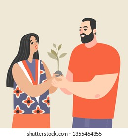Young couple holding a sapling and smiling. Conceptual image of love and development of relationships. Cartoon characters