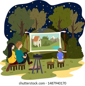 A young couple and a little boy are watching an outdoor movie. Street cinema