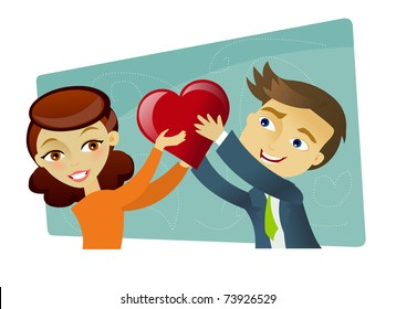 Young couple in love holding a heart