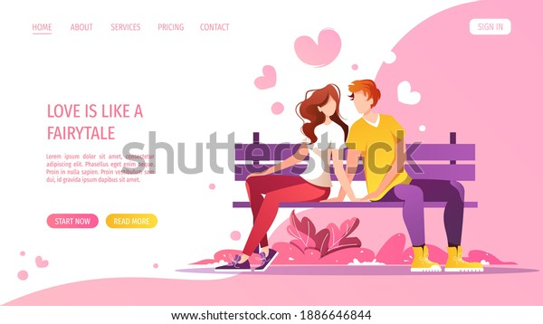 Young couple in love sitting on the bench. Relationship, Love, Valentine's day, Romantic, Date concept. Vector illustration for banner, website, poster, card.