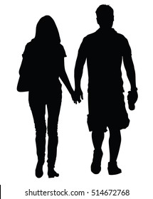 Young couple in love vector silhouette illustration walking around and holding hands vector. Happy couple walking. Closeness in public. Girlfriend and boyfriend on first date. Young teen woman and man