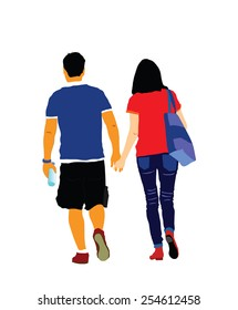 Young couple in love walking around and holding hands vector. Happy couple walking.