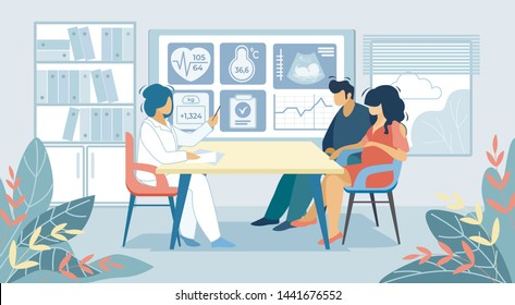 Young Couple Man and Pregnant Woman Sitting at Doctor Appointment Room in Hospital Holding Hands. Pregnancy, Childbearing, Happy Family Waiting Baby Medical Check Up Cartoon Flat Vector Illustration