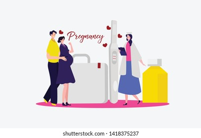 A young couple man and woman are check up their pregnancy first child with a doctor doing medical check up in hospital Illustration