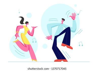 Young Couple Man and Woman Dancing Together. People in Festive Clothing Sparetime, Active Lifestyle, Lovers or Friends Spend Time on Disco Party, Dance Hobby Leisure. Cartoon Flat Vector Illustration