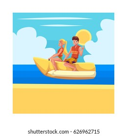 Young couple, man and woman, riding banana boat, enjoying summer water activities, cartoon vector illustration. Full length portrait of man and woman riding banana boat in sea, ocean, under blue sky