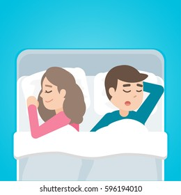 Young couple man and woman sleeping in bed together. Vector cartoon illustration.