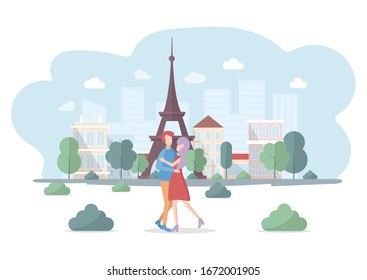 Young couple, man and woman standing in front of Eiffel tower. Honeymoon in France. Walking lovers in Paris. Travel to Europe. Colorful vector illustration in flat cartoon style.