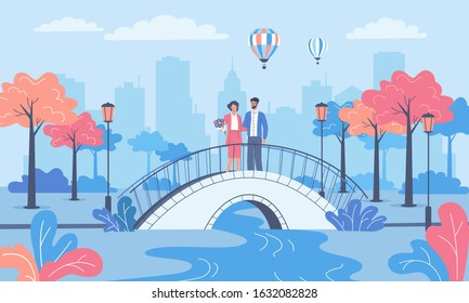 Young couple on a date walking in the city park and bridge vector illustration