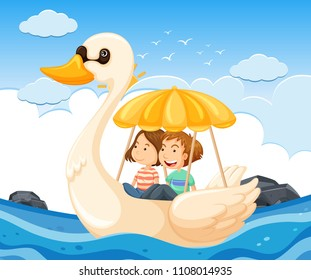 Young couple on a swan boat illustration