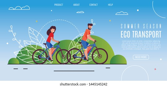 Young Couple Opened Summer Season Eco Transport. Bearded Man and Smiling Girl Riding Bike in Park. Environmentally Friendly Transport to Move Around City. Economical Train to Work, Home.