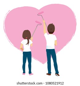 Young couple painting big heart with pink paint on white wall