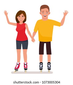 Young couple in park ride rollerblades isolated in a white background. Summer vacation. Cartoon vector character illustration.