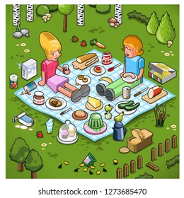Young couple at picnic on a meadow with various food on blanket (vector illustration)
