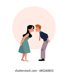 Young couple pretending to be kissing, going to kiss, cartoon vector illustration with space for text. Full length, side view portrait of cartoon couple going to kiss, pretending to kiss