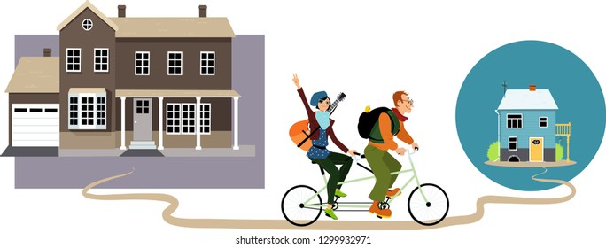 Young couple relocating on a tandem bicycle from a big house to a smaller home, EPS 8 vector illustration