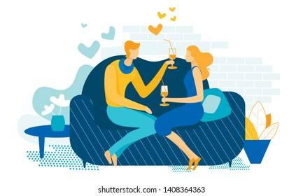 Young Couple Romantic Dating at Home. Loving Male and Female Character Sitting on Couch Drinking Beverage from Glasses with Straw. Declaration of Love, Mutual Sympathy Cartoon Flat Vector Illustration