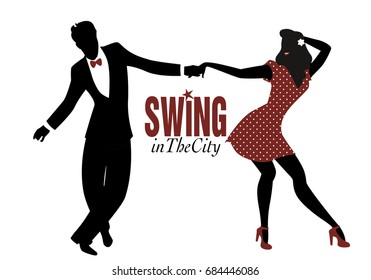 Young couple silhouette dancing swing, lindy hop or rock and roll