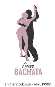 Young couple silhouettes dancing bachata, salsa or latin music.
