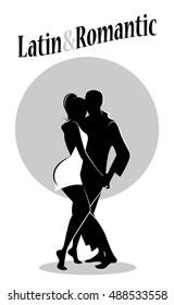 Young couple silhouettes dancing latin music: Bachata, merengue, salsa