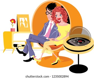 Young couple is sitting in a modern retro   living room near a retro turntable. Vector illustration