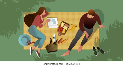 A young couple is sitting on a picnic blanket. Top view. Summer city park scene. Flat graphic vector illustration.