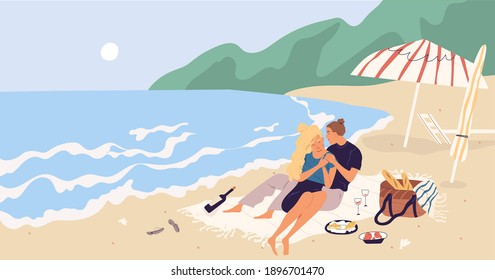 Young couple sitting and relaxing on picnic blanket at seaside. People hugging and drinking wine on beach by sea. Romantic date of man and woman on seashore. Colored flat vector illustration