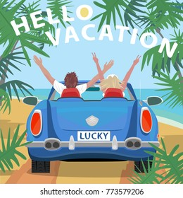 Young couple sitting in retro cabriolet car with raised open arms outstretched, on beach near ocean. Back view. Lettering Hello Vacation. Simplistic realistic style. Vector illustration