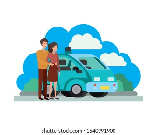 young couple with smart car scene vector illustration design
