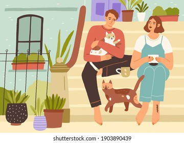 Young couple spending leisure time together with cats on the front porch of house, drinking tea, relaxing and enjoying slow life. Calm people resting in silence near home. Flat vector illustration - Shutterstock ID 1903890439