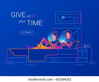 Young couple spending time in bed using smartphones for social networking, reading news, watching video, searching internet. Modern gradient line vector illustration of two people wasting night time