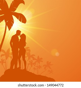 Young couple standing under palm trees and kisses. Vector illustration a loving couple