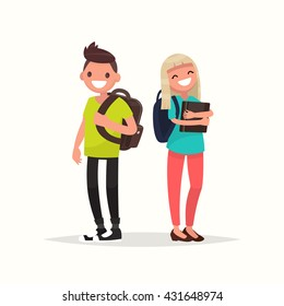 Young couple students. Vector illustration of a flat design