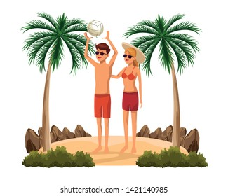 Young couple in summer with voleyball ball in the beach scenery isolated vector illustration graphic design