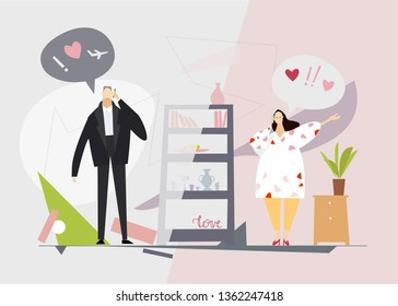 Young couple talking on the phone, happy news, planning future together. Travel and honey moon idea. Flat design illustration