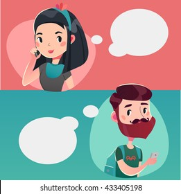 Young couple talking on the phone. Vector illustration,